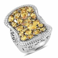 DIAMOND CANARY YELLOW SIMULATED DIAMOND STEEL HYPOALLERGENIC STATEMENT RING 5