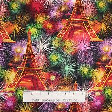 France Fabric - Eiffel Tower & Fireworks Allover C3959 - Timeless Treasures YARD