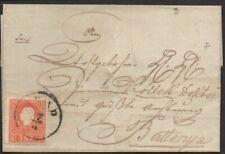 ✔️ 1858. 5 KR TYPE I, AUSTRIA ÖSTERREICH COVER ENVELOPE BATTONYA