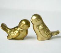 "2 Vintage solid brass birds miniature figure statue collectible 2.5"" animal bird"
