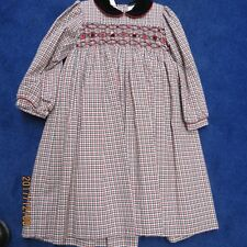Will'beth girls dress size 4T, smocking in Red Grey and black check, new w/tags