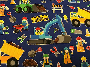 Fabric Lego/Block Construction Workers 2749, sold by the yard