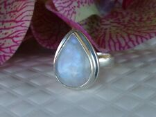 Sterling Silver Size 8/7.8 Grs Artisan Moonstone 17x13mm Teardrop Solitaire Ring