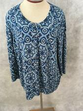 Talbots Cardigan Size 2X blue white womens lightweight floral
