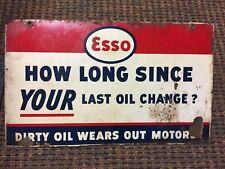 Esso gasoline oil vintage advertising sign large 18x12 baked