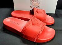 New Versace Sandals Slides Medusa Palazzo Red Size 10 Flip Flops Shoes