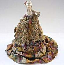 ART DECO HALF/ PIN DOLL BEAUTIFULLY DRESSED WITH LACE AND GLASS BEADS
