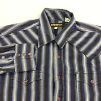 Stetson Pearl Snap Shirt Mens L Brown Blue Long Sleeve Snap Up Striped Western