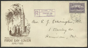 1935 #224 13c Charlottetown FDC, Etherington Cachet, Registered at Ottawa