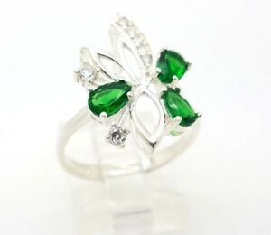 Womens 925 Sterling Silver Ring Size 7.5 Green Emerald