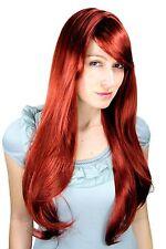 Perruque pour Femme Sombre Cuivre Rouge Frange Longue Raie Lisse 70cm 3111-35