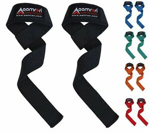 Aamron® GEL Padded Hand Bar Wrist Straps Weight Lifting Training Wrap Gym Lift