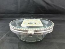 Retro Antique Glass and Gilt Metal Covered Soap Dish.