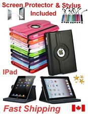 Leather Rotating Case / Cover Stand for iPad -Free Screen Protector & Stylus