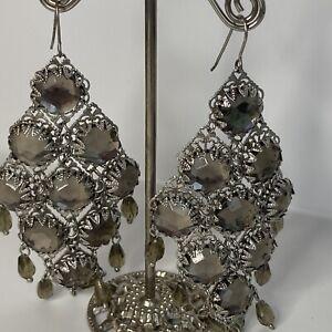 Vintage Earrings Grey Stones Chandelier Statement Pierced