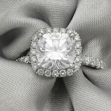 Forever Brilliant With Diamonds 2.2Ctw Cushion Cut Moissanite