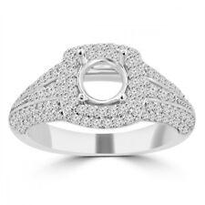 1.27 ct Ladies Round Cut Diamond Semi Mounting Engagement Ring  14 kt White Gold