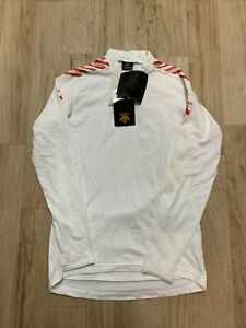 Descente Cycling Jersey White Mens Size Medium Long Sleeve