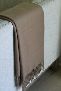 New Williams Sonoma Solid Dark Taupe Brown Cashmere Fringe Throw Luxury Blanket