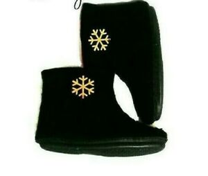 US 10 Wool slippers boots women * Handmade house shoes * Black Red felt slippers