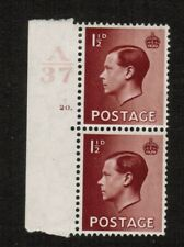 Gb Keviii Sg459 1.5d red-brown Pair Mounted Mint Control A37 Cylinder 20 dot