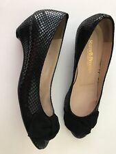 RUSSELL & BROMLEY black 37.5 heels shoes dressy career pumps Wedges Bows London