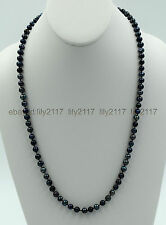 "24"" 5-6mm Genuine Natural Peacock Black Freshwater Cultured Pearl Necklace"