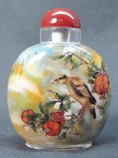 Big Chinese Megranate Bird Inside Hand Painted Glass Snuff Bottle:Gift Box