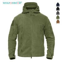 Fleece Lining Mens Army Jackets Military Tactical Hooded Coats Zip Up Outwear