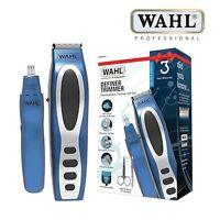 WAHL 5598-1517 STUBBLE & BEARD RECHARGEABLE DEFINER TRIMMER & NOSE GIFT SET BLUE
