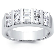 2.00 ct Baguette and Round Cut Diamond Wedding Band Ring In 18 Karat White Gold