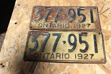 1927 Ontario License Plate Set #377-951 Good Condition