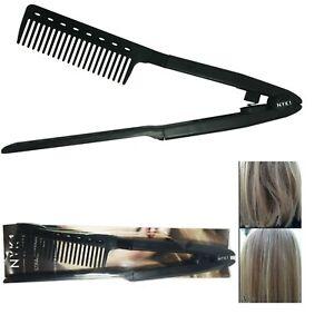 NYK1 Pro V Type Hair Straightener Comb DIY Salon Straightening Styling Tool