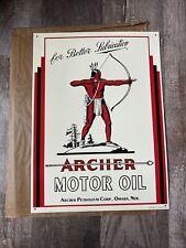 1991 Embossed Archer Motor Oil Advertising Sign