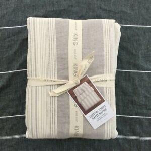 West Elm Coastal Stripe King duvet cover only King Frost Gray Cotton Linen