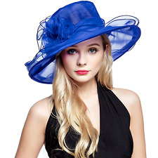 Womens Organza Church Summer Wide Brim Kentucky Derby Tea Party Wedding Hats