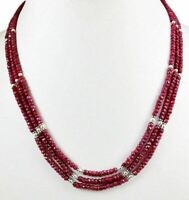 3 Strands Natural Red Ruby 925 Silver Gemstone Beads Strings Necklace Clasp