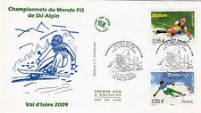 ENVELOPPE 1 er jour timbrée SKI ALPIN VAL D'ISERE 2009 CHAMPIONNATS DU MONDE TER
