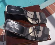 Vintage SERGIO ROSSI Strappy Thong Sandals Skinny Block Heel 38 EUC