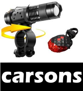 Front & rear laser 5 led bike lights set kit zoom torch white red light CARSONS
