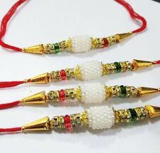 Rakhi Raksha Bandhan Raakhi 4 Pcs White Moti Thread Gift your Brother