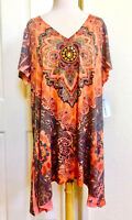 SEVENTH AVENUE *NEW (2X) ORANGE PAISLEY STUDDED HI-LOW TUNIC TOP