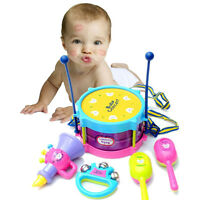5pcs/set Kids Baby Roll Drum Musical Instruments Band Children Toy Gift