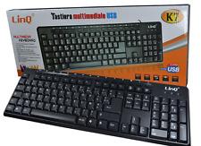 TASTIERA MULTIMEDIALE USB PER PC COMPUTER DESKTOP NOTEBOOK 107 TASTI LINQ K7