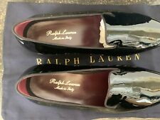 Ralph Lauren Purple Label black collis patent leather slippers tuxedo shoes 8E