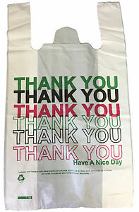 """120 Plastic Carrier Bags Thank You Printed Large Vest 11x17x19"""" 24mu Strong"""