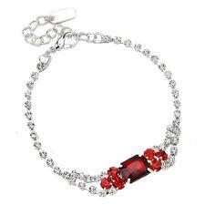 Red diamante bracelet sparkly prom party bridesmaid adjustable rhinestone  0329