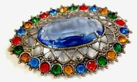 VINTAGE CZECH LARGE SILVER TONE FILIGREE SAPPHIRE PASTE BROOCH PIN Gift Boxed