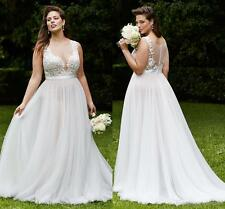 White/Ivory Tulle Wedding Dress Bridal Gown Custom Plus Size 18 20 22 24 26 28++