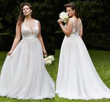 White/Ivory Tulle Wedding Dress Bridal Gown Custom Plus Size 18 20 22 24 26 28++